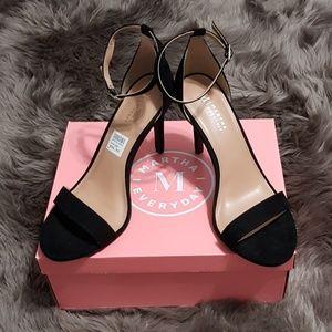 Black Open Toe Ankle Strap Stilettos Heels NWT